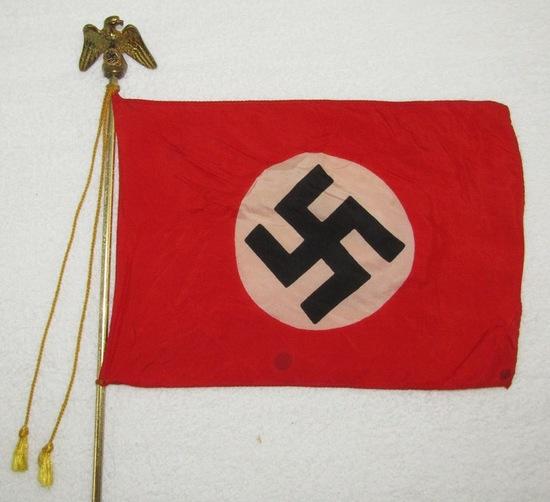 Very Unique German Officer's NSDAP Desk Flag On Marble Base