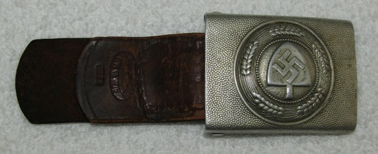 Early RAD Belt Buckle W/Leather Tab-Unit Marked-Assmann Maker