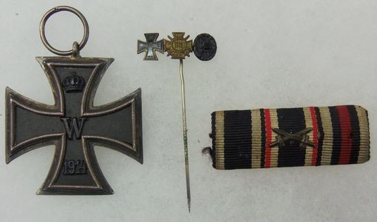 3pcs-WW1 Iron Cross 2nd Class-Stickpin-Ribbon Bar