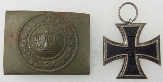 """2pcs-WW1 Iron Cross 2nd Class/""""Gott Mit Uns"""" Combat Buckle For Enlisted"""