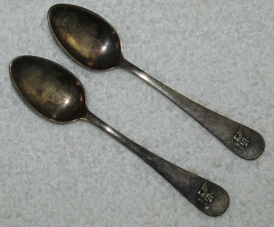 2pcs-Original WW2 Period Fritz Sauckel Demitasse Spoons