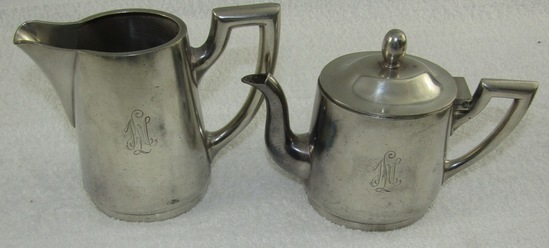 2pcs-Pre/Early WWII Metal ware Pitchers With LAH Monogram-Quellenhof Hotel