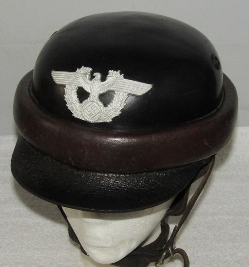 Scarce WW2 Nazi Police Crash Helmet-EREL