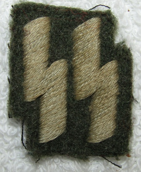 Nazi Police Members In The Waffen SS Runic Insignia For Enlisted