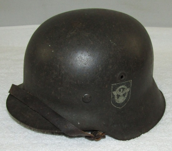 Double Decal M-42 Nazi Police Combat Helmet W/Liner/Chin Strap