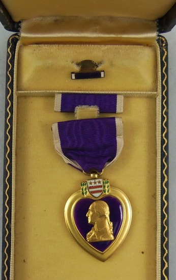 WW2 Period Sewn Slot Brooch Purple Heart With Case-Not Named
