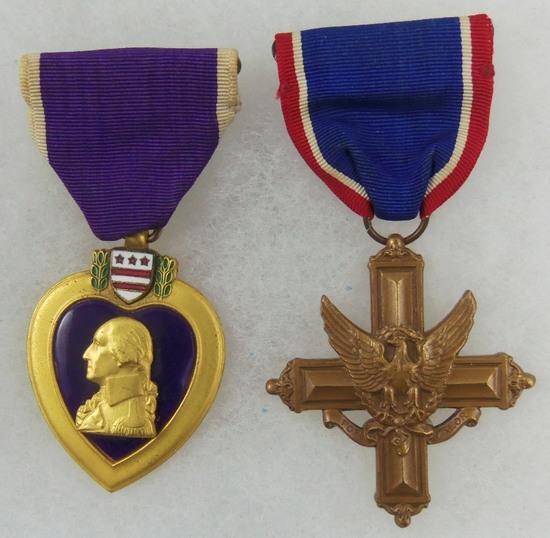 2pcs-WWII Sewn Slot Brooch Purple Heart/Distinguished Service Cross