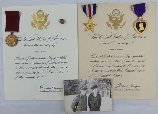 WW2 Period Father & Son Medal Grouping-Named Silver Star/Purple Heart