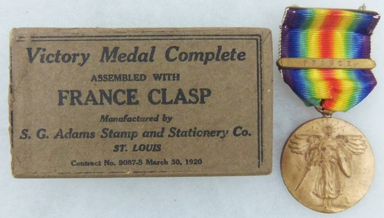 WW1 U.S. Victory Medal With France Campaign Clasp-Original Issue Box