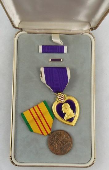 Vietnam War Period KIA Engraved Purple Heart-Vietnam Service Medal