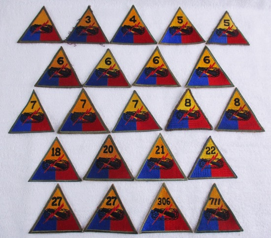 22 pcs. Armored Division Patches