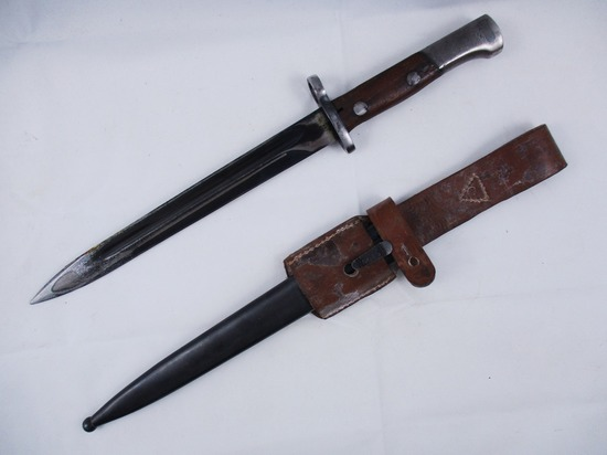"M48 Serbia Made ""44"". Yugoslavia Mauser  Bayonet w/Leather Frog and Steel Scabbard"