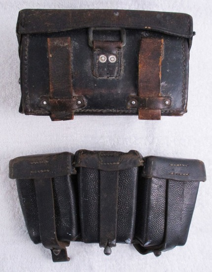 2pcs-WW2 German 3 Cell K-98 Ammo Pouch-Leather Medic Pouch