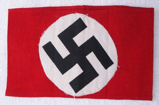 NSDAP Armband-Printed Swastika On White Circular Field Sewn To Red Cotton Base.