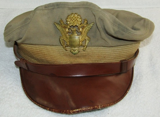 "WW2 US Army/Army Air Corp Officer's ""True"" Khaki Crusher Visor Cap-Named"