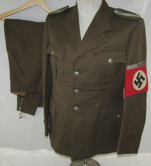 Rare Organization Todt Tunic/Pants For Haupttruppfuher (Head Troop Leader)Of Administration
