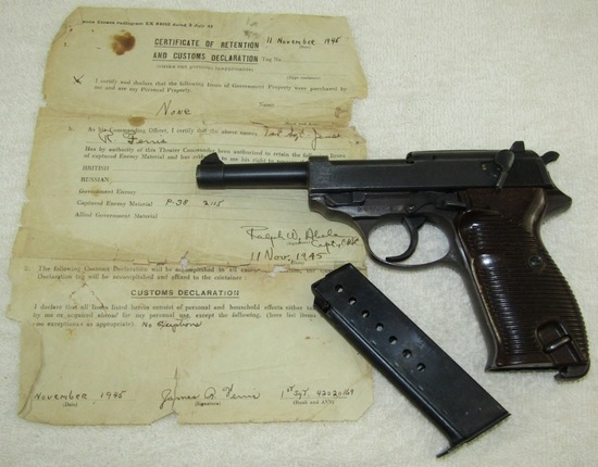 Walther AC 44 P38 Pistol-Matching Numbers With Bring Back Paper