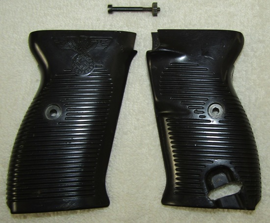 Black Plastic P38 Grips With Political Eagle Embossing
