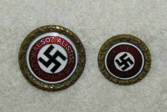 NSDAP Golden Party Badges-Numbered To SS Sturmbannfuhrer Eduard Hiebel-Himmler's Personal Staff