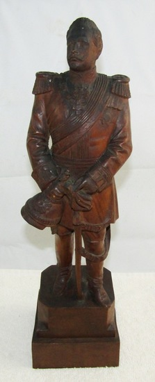 Prussian/WW1 Period Hand Carved Kaiser Wilhelm II Statuette