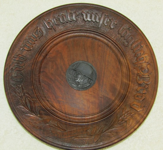 """Early WW2 Hand Carved Wood """"Plate"""" With German Soldier Device-Lord's Prayer"""