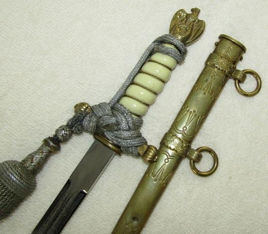 Eickhorn Kriegsmarine Officer's Dagger With Lightning Bolt Scabbard-Portapee In Correct Tie