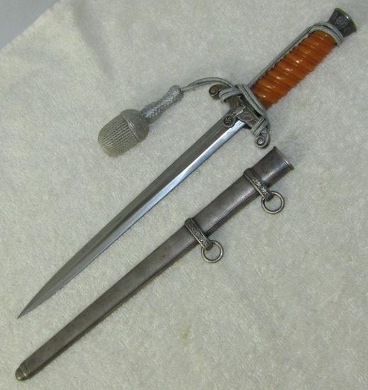 "Wehrmacht Officer's Dagger With Scabbard/Portapee-Rare ""Glass"" Grip-Eickhorn"
