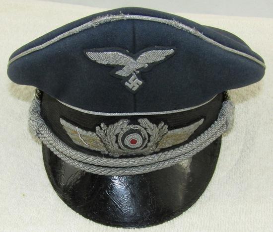 Luftwaffe Officer's Visor Hat-Bullion Insignia-Pekuro