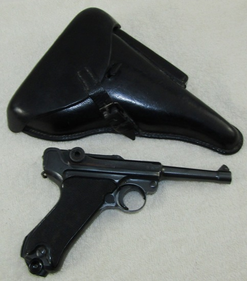 """Black Widow"" Luger Pistol With Holster.  ""byf 41"". All Numbers Match"