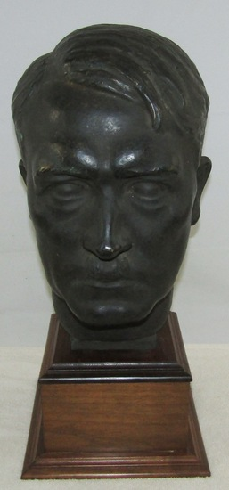 Rare WW2 Period 2-1/2 Times larger Hitler Bronze Bust By 3rd Reich Sculptress H.M. Ley