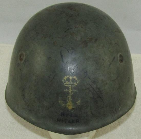 WW2 M33 Italian Royal Marines Helmet With Vet Capture Signatures