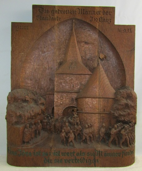 Exquisite Early 3rd Reich Hand Carved Wood 3-D Mural-SA Soldiers Marching With DE Standarte