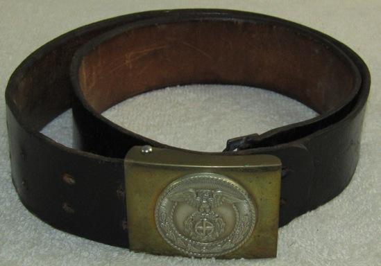 Sa 2pc Buckle With Leather Belt-Sunwheel Swastika