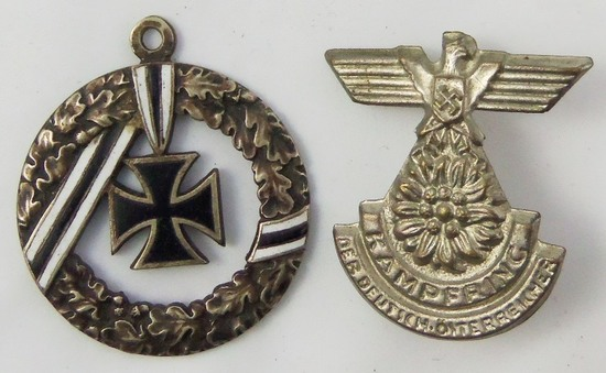 2pcs-WW2 Period Rally Badge-WW1/WW2 Pendant With Iron Cross