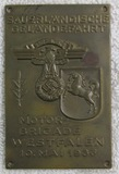 1936 NSKK Motor Brigade Brass Plaque Device
