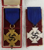2pcs-Cased 40 year Faithful Service Medal-25 Year service Medal.