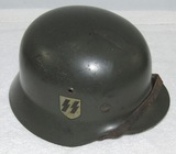 Original WW2 M35 German Helmet-With Liner/Chin Strap-SS Decals