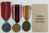 3pcs-Eastern Front, West Wall W/Issue Packet and 3rd Class War Merit Cross Medals
