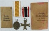 2pcs.-West Wall And War Merit Cross 2nd Class W/O Swords Medals-Both W/Issue Packet