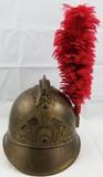 WW1 Period Adrian Style French Fire Brigade Brass Helmet With Plume.