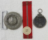 3pcs-Heer Officer's Brocade Belt Buckle-Eastern front Medal-Eastern Front Buttonhole Ribbon