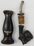 2pcs-SS Dagger Grip-SS Officer's Skull Smoking Pipe
