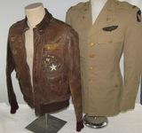 2pcs-WW2 USAAF Named/Painted A-2 Jacket-Khaki 4 Pocket Tunic-12AAF 443rd BS/320th BG Bombardier