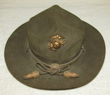 WW2 Period  U.S. Army Type Campaign Hat With Officer's Cord-USMC Insignia