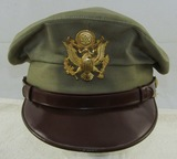 U.S. Army/Army Air Corp Officer's True Crusher W/Single Ply Soft Leather Visor-Olive Color Variant