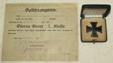 Cased WW1 Iron Cross 1st Class W/Award Doc. Named To Kapitanleutnant der Seewehr