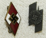 2pcs-Hitler Youth and German Young Peoples Member Badges