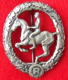 WW2 Period Silver Grade Equestrian Badge By Steinhauer & Luck