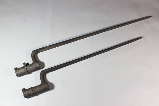 2 Unmarked Civil War or European Socket Bayonets