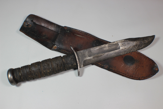 US WW2 USMC Marked Ka-Bar Fighting Knife With Leather Scabbard. Rough. Blade Marked.